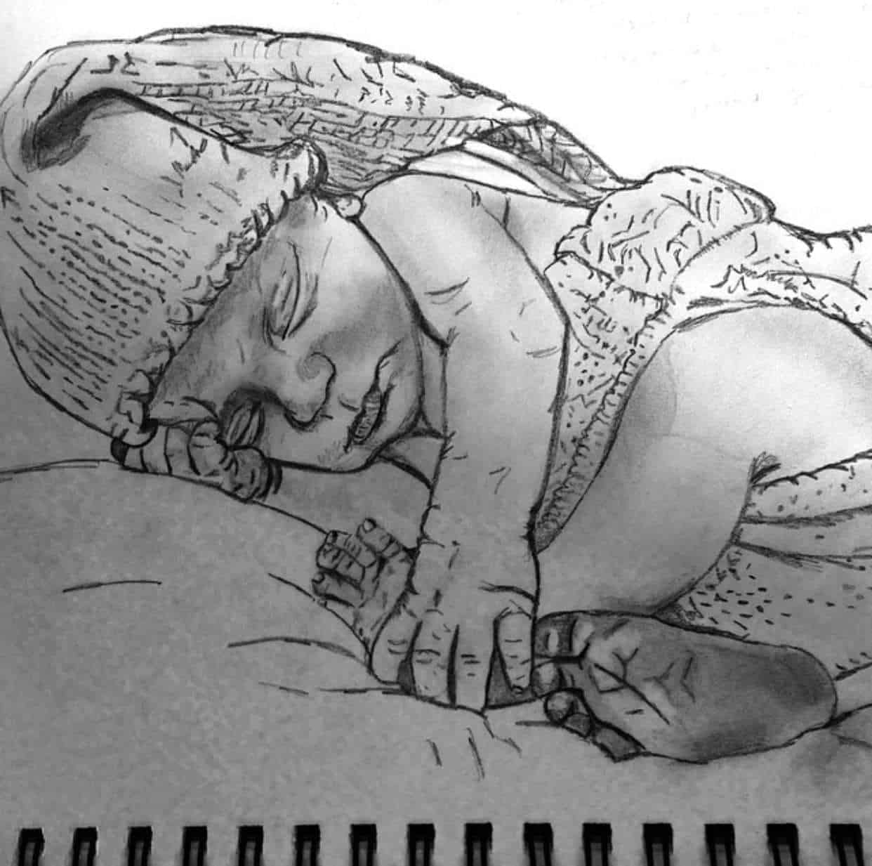 Sketch drawing of a baby by Helen to represent the inner child